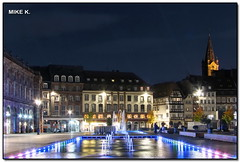 Kleber Place, Strasbourg (Mike G. K.) Tags: longexposure france water fountain pool architecture night buildings square lights vespa nightshot cathedral timber restaurants strasbourg alsace frame soe aubette exposureblending photomatix 15s 3exp abigfave anawesomeshot theunforgettablepictures frpix halftimberhouse kleberplace mikegk:gettyimages=submitted