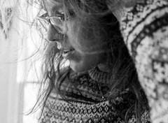 Messy hair, don't care #throughherlens (Mrsbridges2013) Tags: throughherlens authentic messyhair portrait texture bedhead morning hair messy bw blackandwhite selfportrait sonya7ii sony