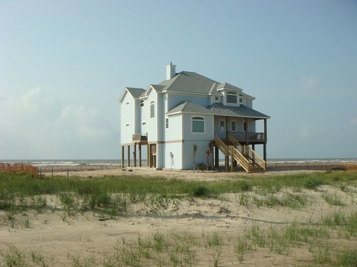 Beach house on stilts. Galveston Island. Texas, US.