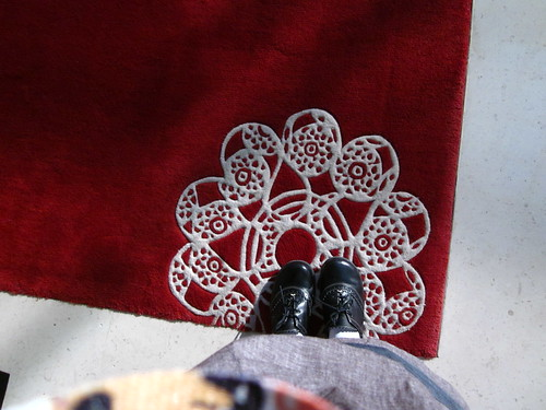 Doily carpet and my shoes!