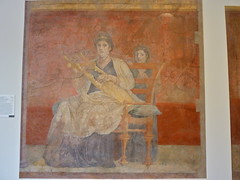 Seated woman playing a kithara, wall painting from a reception hall, villa of P. Fannius Synistor, Boscoreale (lreed76) Tags: newyorkcity metropolitanmuseum metropolitanmuseumofart boscoreale paintedromanwallpanel womanplayingakithara