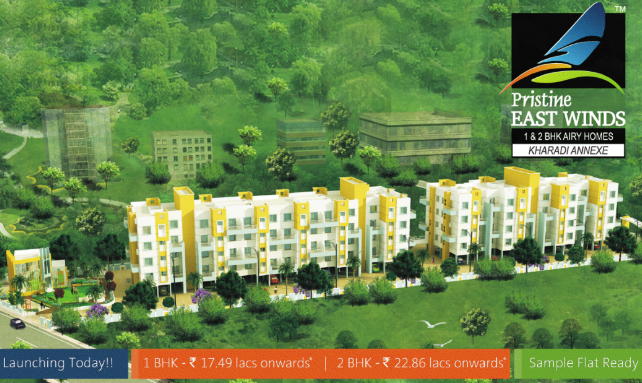 "Pristine East Winds Wagholi 1 BHK Rs. 17.49 Lacs - 2 BHK Rs. 22.85 Lacs ""onwards"""