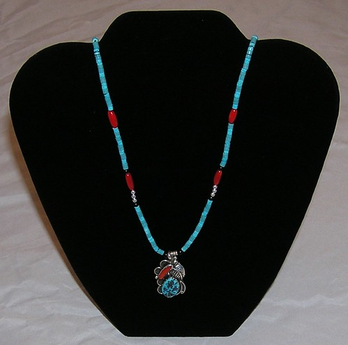 Turquoise and Coral Pendant Necklace