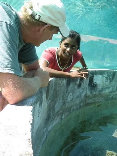 Sara explaining clams Makogai