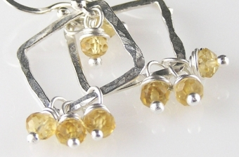 Faceted Citrine & Fine Silver Earrings