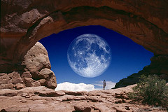 eye on the moon (Dave Mantel) Tags: moon color landscape person arch arches photomontage karmapotd karmapotw aplusphoto flickrdiamond collectivedreamjournal