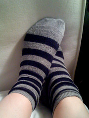 home sick with striped socks