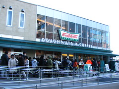 Line at Krispy Kreme around the block