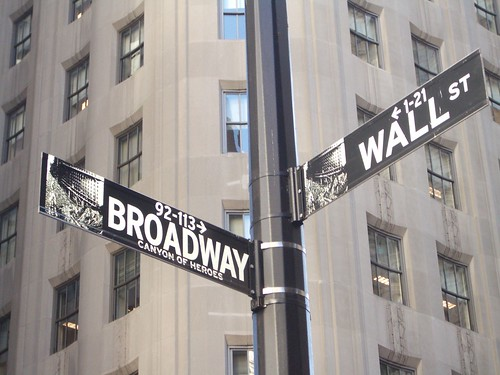 Street sign for Wall Street and Broadway in New York