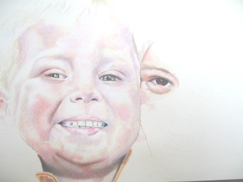 In progress scan of colored pencil drawing Nate & Hannah