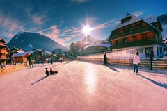 Ice skating in Morzine, France (The Other Martin Tenbones) Tags: winter sun france ice clouds skating fisheye hdr morzine