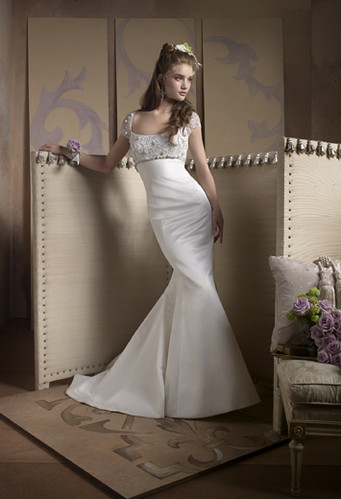 A Sexy Slender Bridal Wearing A Nice-looking Wedding Dress
