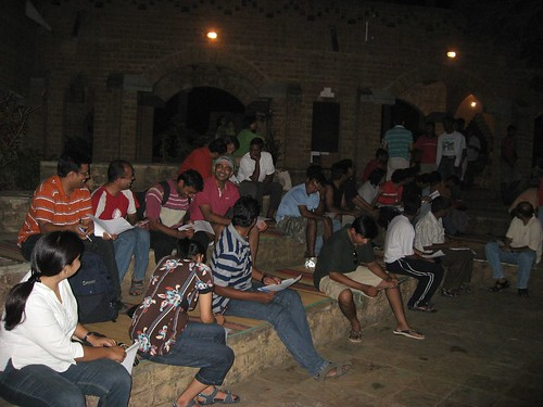 The night before at Auroville Visitor Center.. All runners were asked to assemble to there to collect runner's pack
