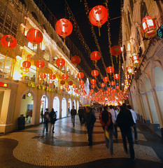 Macau Old Town Decorated for Chinese New Year