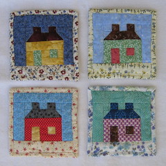 Quilted House Coasters (WendysKnitch) Tags: houses quilt swap quilting blocks coasters