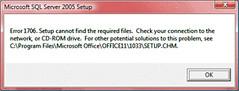 MS SQL Server 2005 - Error 1706