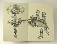 Looking at the Past. (Elsita (Elsa Mora)) Tags: flowers white black moleskine nature girl animal illustration pen ink paper book sketch drawing diary story characters elsa elsita