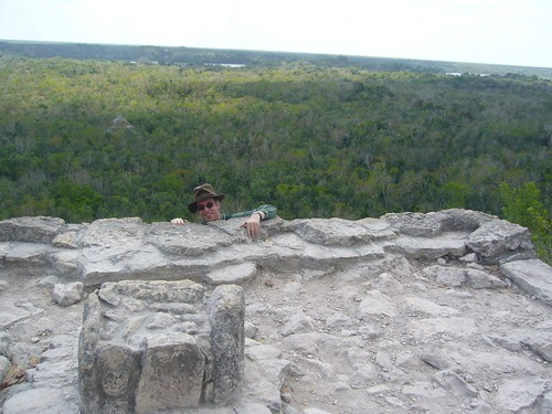 Me reaching the top of the pyramid at Coba