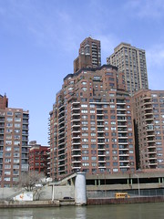 Apartments on the East River (mikecogh) Tags: newyork apartments balconies schoolbus urbandensity estriver