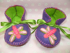 purple and lime handmade baby booties with dragonfly motifs-hand stitched (Funky Shapes) Tags: uk flowers baby love colors animals kids shoes autum handmade insects felt zapatos yarn gift booties bebes babygift handstich funkyshapes babyclothing babyslippers etsybaby