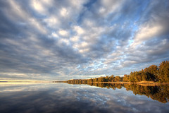 Tuggerah Lakes (rossathome) Tags: blue sky lake water clouds canon 350d long jetty hdr tuggerah photomatix aplusphoto