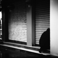 (memetic) Tags: china street door shadow urban man 120 6x6 mediumformat gate downtown fuji tl chinese neopan 100  nanjing jiangsu 30x30 acros  p6 pentaconsix sonnar 180mm