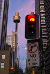 Sydney  CIty Sunset (Craig Jewell Photography) Tags: city pink light sunset sky tower sign evening trafficlight twilight purple traffic dusk au sydney amp australia cbd smcpfa35mmf20al craigjewellphotography