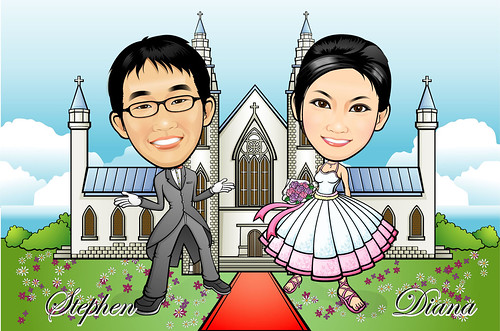 Q-Digital Couple Caricatures - Western Wedding A5 (revised 3)
