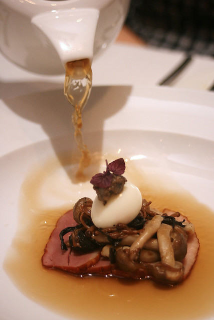 Duck Tea - duck consomme, quail egg, trumpet and brown enoki mushroom, smoked duck breast, black truffle