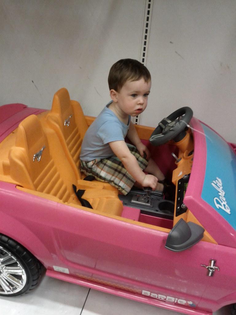 Cruising in Barbie's car