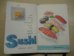Moleskine - Sushi (chicgeekuk) Tags: shadow food laura moleskine notebook sushi for ginger goldfish please good maki some right give eat what oh nigiri wasabi now markers copic craving wouldnt kishimoto crave october30 i laurakishimoto laurakishimotoca