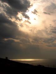 Silver gilt skys, Mnadra, Malta (archidave) Tags: light sea sky sun tower clouds malta fortification scenicsnotjustlandscapes