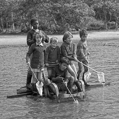 A life on the ocean wave! (opobs) Tags: blackandwhite lake london beach boys children boat pond boots pirates wellingtonboots 1970s paddling wellies 1a 1976 wellingtons fishingnet childrenshome londonboroughofwandsworth minoltasrt303 wisleycommon opobs michaeljstokesawpf mcrokkor50mmf18 1alw linsteadway