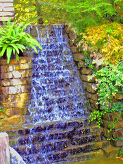 Garden Waterfall (joehall45) Tags: garden waterfall drops cool vines rocks landscaping ky peaceful ferns sunlit comfort grandriver refreshing coolestphotographers pattiesrestarunt