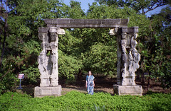 Theosophical Society (Jennifer Kumar) Tags: india gate madras parks serenity chennai tamilnadu adyar theosophicalsociety india1999 rockstatuesindia1999
