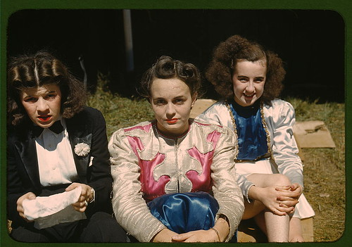 """Backstage"" at the ""girlie"" show at the Vermont state fair, Rutland (LOC) by The Library of Congress."