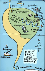 Brazil map from memory (Nad) Tags: ocean brazil beach beagle southamerica girl statue niemeyer brasil forest islands canal words football amazon ship map drawing jesus north cuba antarctica galapagos bikini memory tribes belohorizonte panama sugarloaf malvinas brasilia ipanema equator piranha isthmus