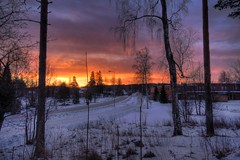 HDR sunrise in Mntsl (MikeAncient) Tags: road morning school trees winter sky snow clouds sunrise finland landscape geotagged fire branches hdr smalltown mntsl tonemapped tonemap