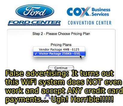 False Advertising - WiFi that does not work at the Oklahoma City Cox Convention Center