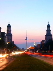 frankfurter tor (uv-b) Tags: street sunset berlin germany dark deutschland vanishingpoint towers fernsehturm friedrichshain eastberlin uwe uvb karlmarxallee frankfurterallee frankfurtertor stalinallee bernhart