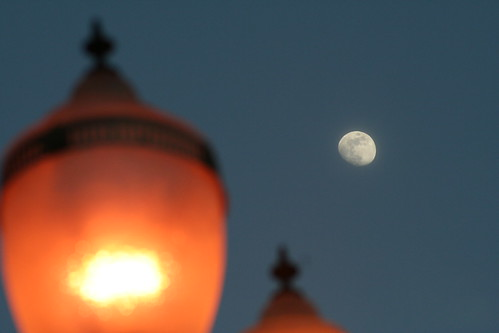 Streetlights with Moon