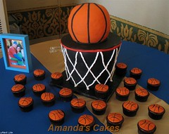 Michael Shook's Groom's Cake (mandotts) Tags: orange white black net basketball cake cupcakes chocolate grooms fondant redbasketball