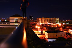 Heavy Lies the Crown (Emilie Pitts) Tags: light rooftop night wpb parkinggarage cigarette westpalmbeach wonderland viewfromthetop stairwaytoheaven alicewaters 561 excapture