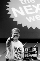 Robert Scoble with a David Petherick QR Code T-shirt at The Next Web 2008. Photo by Guido van Nispen