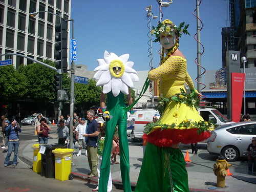 Stilt walkers at Wilshire Center Earth Day Celebration