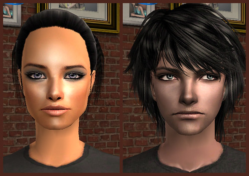 Sai Pennell and Chad in The Sims 2