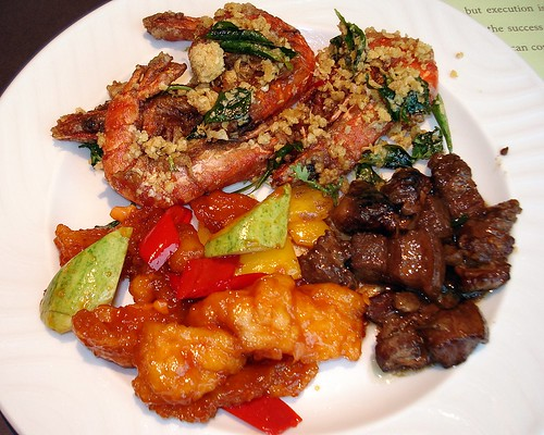 Cereal prawns, five-spiced pork belly, sweet and sour fish