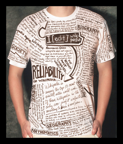 T-shirt with writing describing aspects of Wikipedia with key phrase - I EDIT Wikipedia