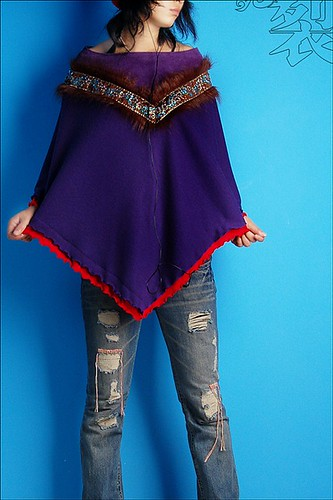 Mongolian odval purple poncho : Asian iCandy Store, Unique Asian Arts and Gifts From Independent Artists