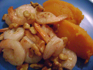 sauted shrimp and walnuts with ginger mashed butternut squash